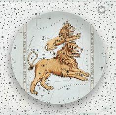 Leo Constellation on Plate, Zodiac