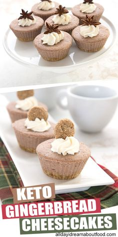 Built in portion control! These mini Keto Gingerbread Cheesecakes are just the right size for a sweet low carb holiday treat. Full of sweet ginger flavor and super easy to make, they make a wonderful sugar-free dessert recipe. Only net carbs per serving Sugar Free Desserts, Low Carb Desserts, Low Carb Recipes, Low Carb Cheesecake, Cheesecake Recipes, Dessert Recipes, Cupcake Recipes, Dessert Ideas, Dinner Recipes