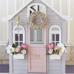 Cubby house details for those asking Cubby - House paint - Musing Door paint - Pink Dust Roof paint - Vanessa Mae Trimmings paint - Vivid White Flowers - Bell, door knob and door numbers - Curtains - handmade with fabric from Doormat - .