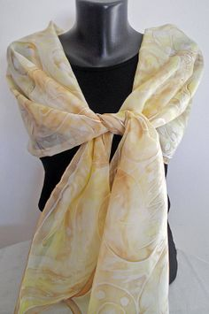 Warm wind Handmade silk scarf Hand rolled gold & by MarijanaSilk