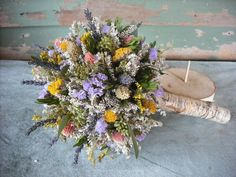 Dried flower Bridal  bouquet with Birch holder by NHWoodscreations, $59.00