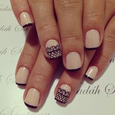 Variation on a French mani with lace accent nail.