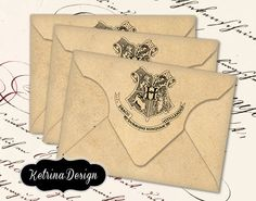 INSTANT DOWNLOAD    Blank Hogwarts themed vintage envelopes    Details:  * 1 high quality (300 dpi) image on one 8.5 x 11 jpg sheet for easy