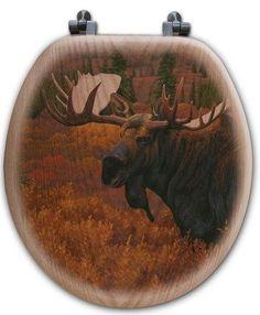 Outdoor Inspired Oak Veneer Toilet Seats - Denali Autumn Moose