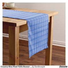Country Blue Plaid Table Runner 14x72