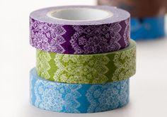 New-Japanese Washi Masking Tapes Set of 3 - Elegant and Delicate Lace