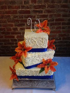 Orange and blue Wedding Cake colors! #stacyscakes