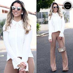 Combo perfeito! Calça Flare bandagem (cor Camel) + camisa manga flare!  #artsy #preview #spring #summer16