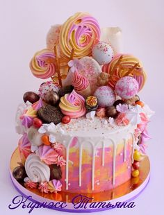 Сообщество «Кондитерская» - Babyblog.ru Candy Cakes, Cupcake Cakes, Cupcakes, Delicious Cake Recipes, Yummy Cakes, Beautiful Cakes, Amazing Cakes, Nake Cake, Candy Drinks