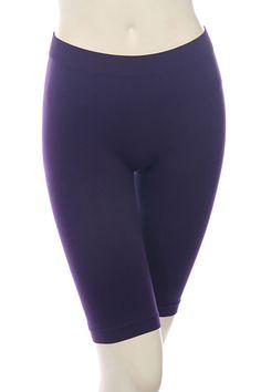 BERMUDA LENGTH SEAMLESS TIGHTS-Purple