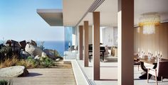 Casa Finisterra : This 9,000 square foot, five bedroom, seven bath contemporary home sits upon a breathtaking promontory in the exclusive gated resort-community of Pedregal in Cabo San Lucas, a city at the southern tip of the Baja California peninsula, in the Mexican state of Baja California Sur.