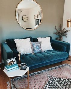 Scott 3 Seater Sofa, Petrol Cotton Velvet - Lilly is Love Teal Living Rooms, Living Room Paint, Living Room Sofa, Home Living Room, Apartment Living, Living Room Designs, Living Room Decor, Blue Bedrooms, Home Interior