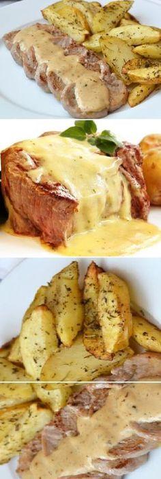 Solomillo de cerdo con salsa de queso.