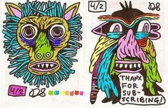 work doodles on paper scraps by Darin Shuler, via Flickr