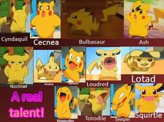 Pikachu's Talent...They spelled Cacnea wrong.
