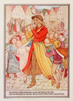 """""""The Pied Piper of Hamelin Followed by Children,"""" an illustration by M. Dibdin Spooner for The Golden Staircase, a collection of children's poetry.  The poem, The Pied Piper of Hamlin, was written by Robert Browning in 1842."""