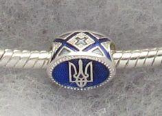 Ukrainian Trident Tryzub Pandora Bead Jewelry Piece Blue Embroidery Enamel SS | eBay
