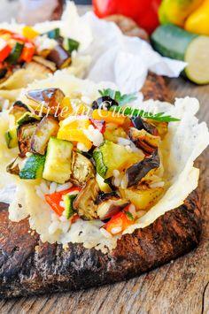 Cestini di riso all'insalata con verdure grigliate vickyart arte in cucina