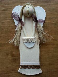 www.pasjadekorowania.blogspot.com Diy Clay, Clay Crafts, Crafts To Do, Paper Clay, Clay Art, Christmas Angels, Christmas Crafts, Clay Angel, Ceramic Angels