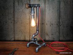Edison Light  - Plumbing Pipe - Steampunk Art - Industrial Furniture - Faucet Handle. $195.00, via Etsy.
