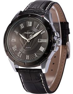 Agent X Mens Wrist Watch Black Case Date Display Japan Quartz Black Leather Band AGX041 * More info could be found at the image url. (Note:Amazon affiliate link)