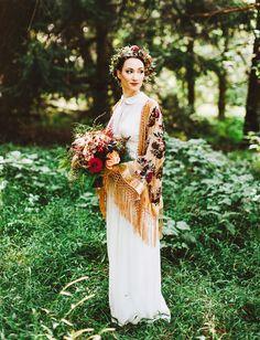 Vintage Dress with fringe shawl