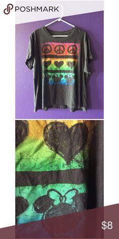 Disney Peace, Love and Minnie Tee 100% cotton, lightweight tee. Super cute multicolor Disney graphic. Dark grey Tops Tees - Short Sleeve