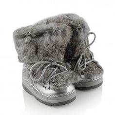 Missouri Girls Grey Fur Snow Boots