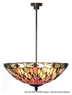 """EXTRA-Modell!  Ø 45 cm. TIFFANY-Pendel-Lampe, unsere umfangreiche Serie FUEGO. Ø 45 cm. ca. 75 cm h. 2 x E14, je 40w.     ..besteht aus vielen einzelnen hochwertigsten TIFFANY-Gläsern, abgestimmt von hellrose bis roserot. Für die einzelnen Libellenflügel wurden hier besondere in sich selbst kolorierende """"Jewelsteine"""", dazu  zusätzlich viele funkelnde mehrfarbige """"Jewels"""" aufwändig eingearbeitet - eine Meisterleistung !"""