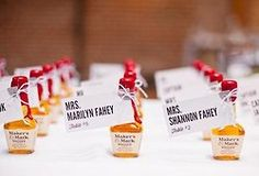 Mini liquor bottles as escort cards | photography by Annie McElwain Photography