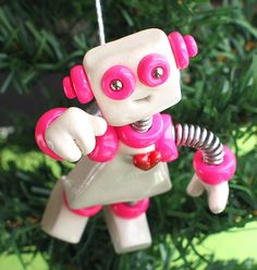 Pink Pizy JetPack Girl ROBOT CHRISTMAS by RobotsAreAwesome, $25.00