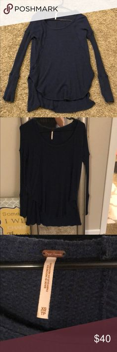 Free people flowy navy blue top Navy blue flowy long sleeve top Free People size xs Free People Tops