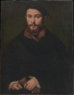 Portrait of a Man with Gloves, Corneille de Lyon, oil on panel, 1530s or 40s?, French.