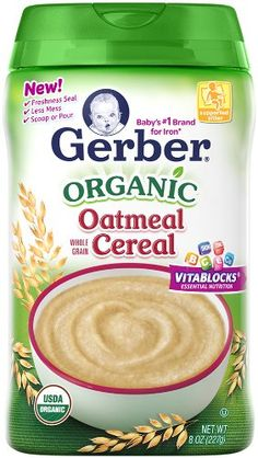 Gerber Baby Cereal, Organic Oatmeal, 8 Ounce - http://goodvibeorganics.com/gerber-baby-cereal-organic-oatmeal-8-ounce/