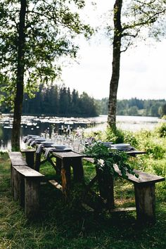 25 ideas wedding table settings country outdoor dining for 2019 Outdoor Dining, Outdoor Spaces, Outdoor Decor, Lakeside Dining, Rustic Outdoor, Al Fresco Dining, Deco Table, Outdoor Entertaining, Sweden