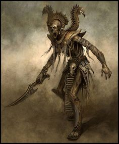 Tomb King, skeletal warrior with ancient sword