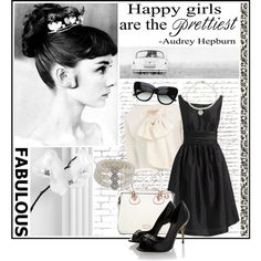 Audrey Hepburn by lifestyle-ala-grace on Polyvore featuring Eliza J, Giambattista Valli, Fendi, Folli Follie, Carolee, Tiffany & Co., Once Upon a Time, pearl necklaces, vintage dress and bow jacket