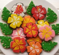 Cookiology: Hibiscus and leaves. Fabulous!!!!!!