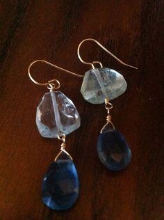 Aquamarine and Flourite earrings Drop Earrings, Bracelets, Jewelry, Fashion, Moda, Jewlery, Jewerly, Fashion Styles, Schmuck