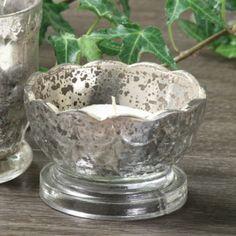 Antique Silver Mercury Glass Votive