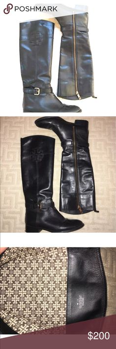 WORN ONCE Tory Burch Black Riding Boots Worn once! Pristine condition. Black Tory Burch riding boots with emblem on outside. Full zip up inside. Size 8. Tory Burch Shoes Winter & Rain Boots