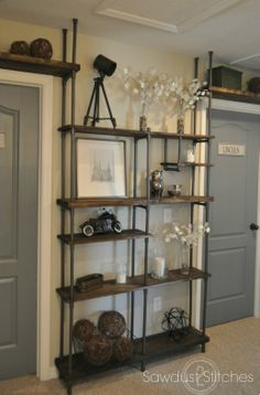 Inexpensive Diy Pipe Shelves Ideas On A Industrial Shelving, Industrial House, Industrial Furniture, Industrial Style, Industrial Design, Industrial Interiors, Industrial Lighting, Pvc Pipe Furniture, Vintage Industrial Bedroom