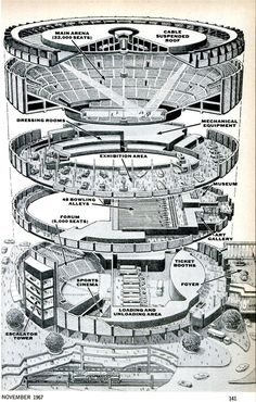 Madison Square Garden exploded view drawing, 1967.