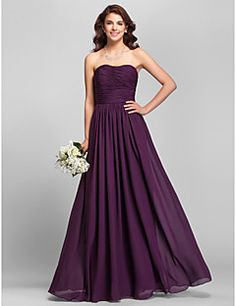 Lanting Bride® Floor-length Chiffon Bridesmaid Dress - A-line Strapless Plus Size / Petite with Side Draping / Ruching