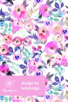 Hand painted watercolor florals by holaholga - Beautiful watercolor floral pattern in pink, green, peach, and blue on fabric, wallpaper, and gift wrap.  Perfect floral pattern for wallpapering a powder room, making zipper pouches, or sewing bold throw pillows.  Click to see more beautiful watercolor floral patterns by this designer.  #floral #flowers #surfacedesign #designer #watercolor #watercolorfloral #watercolorflowers #neon #neonflowers #fabric #wallpaper
