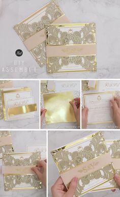 champagne gold laser cut wedding invitation diy and assembly #ewi #weddinginvitations