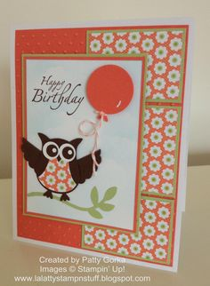 LaLatty Stamp 'N Stuff: Birthday Cards So adorable! Love the colors! Homemade Greeting Cards, Hand Made Greeting Cards, Making Greeting Cards, Homemade Cards, Scrapbooking, Scrapbook Cards, Scrapbook Albums, Handmade Birthday Cards, Happy Birthday Cards