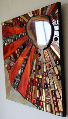 Mosaic Stained Glass Fused Glass Agate Abstract by GlassArtsStudio lots of mirror ideas inside and in garden Mosaic Artwork, Mirror Mosaic, Mosaic Wall, Mosaic Glass, Mosaic Tiles, Fused Glass, Mosaics, Diy Mirror, Mirror Work
