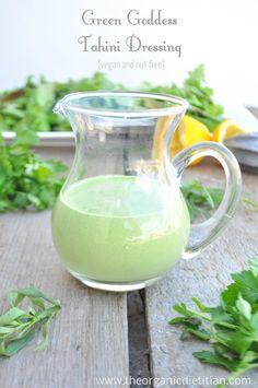 Green Goddess Tahini Dressing (Vegan, Nut Free, Paleo) - The Organic Dietitian Chutneys, Vinaigrette, Ketchup, Raw Food Recipes, Wine Recipes, Healthy Recipes, Pesto, Salad Dressing Recipes, Salad Dressings