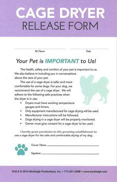 Modern – Cage Dryer Release Form – Hokulani V – pet resort Dog Grooming Shop, Dog Grooming Salons, Dog Grooming Business, Dog Spa, Pet Resort, Pet Vet, Dog Clothes Patterns, Dog Daycare, Modern
